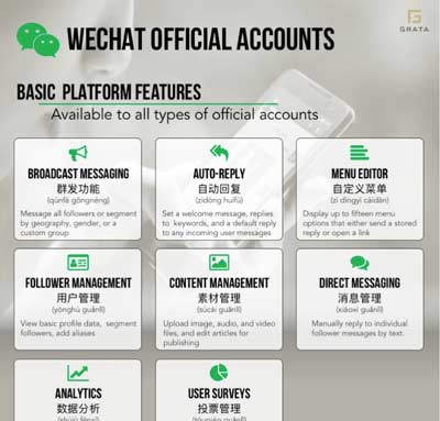 wechat official account features list