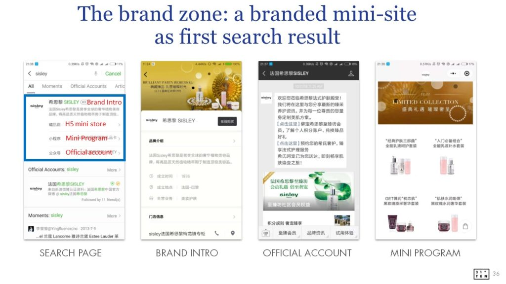 WeChat brand zone | a branded mini-site | landing page ranking first in WeChat search result