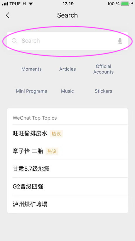 when searching from the WeChat Home screen | wechat search function